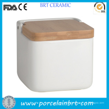 Square White Bamboo Lid Ceramic Food Storage Jar